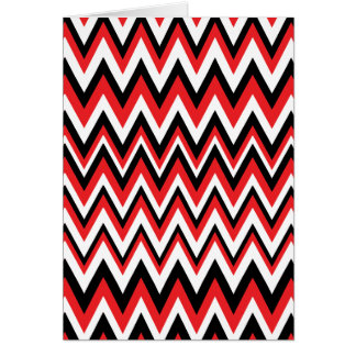 Red Black and White Zig Zag Pattern Card