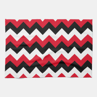 Red Black and White Zigzag Tea Towel
