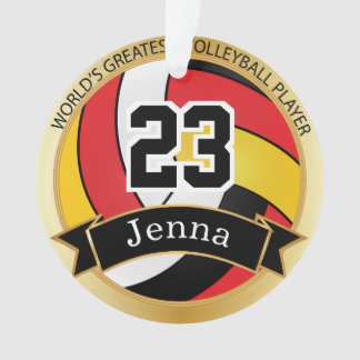 Red, Black and Yellow Volleyball 7 | DIY Text Ornament