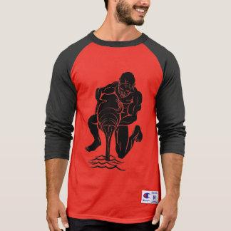 Red & Black Aquarius, Men's Champion 3/4 T-Shirt