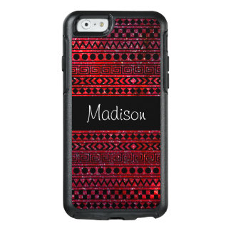 Red Black Aztec Tribal Space Stars Glitter OtterBox iPhone 6/6s Case