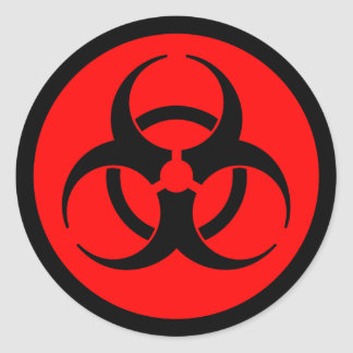 Red & Black Biohazard Symbol Sticker
