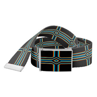 Red Black Blue Yellow Abstract Rainbow Neon Cross Belt