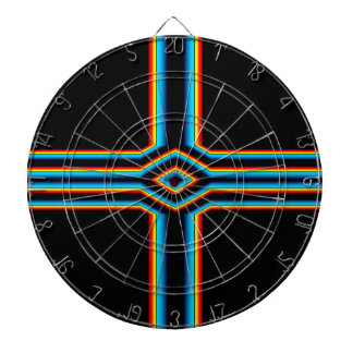 Red Black Blue Yellow Abstract Rainbow Neon Cross Dartboard