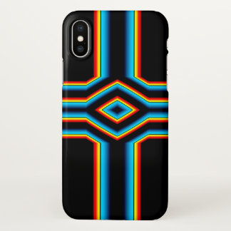 Red Black Blue Yellow Abstract Rainbow Neon Cross iPhone X Case