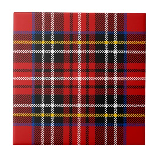 Red, black, blue, yellow and white tartan small square tile