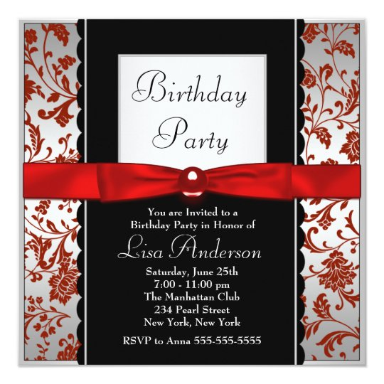 Red & Black Bow Tie Damask Birthday Party Card