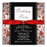 Red & Black Bow Tie Damask Birthday Party Personalised Invite