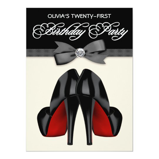 Red Black Bow Tie Womans 21st Birthday Party