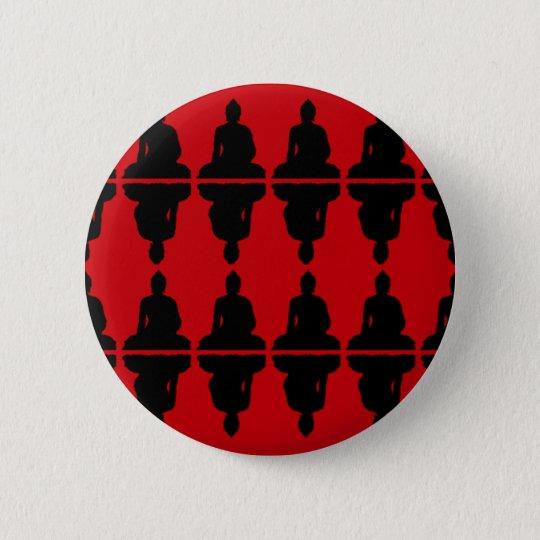 Red & Black Buddha 6 Cm Round Badge