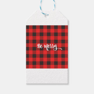 Red & Black Buffalo Check Plaid BE MERRY Gift Tags