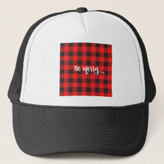 Red & Black Buffalo Check Plaid BE MERRY Trucker Hat