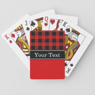 Red Black Buffalo Check Plaid CBN Monogram Poker Deck