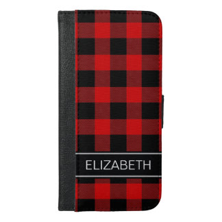 Red Black Buffalo Check Plaid Name Monogram iPhone 6/6s Plus Wallet Case