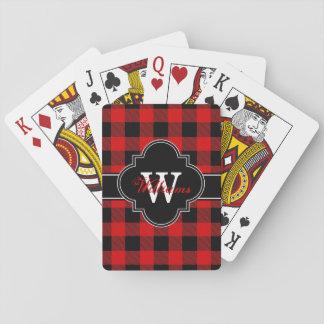 Red Black Buffalo Check Plaid Tartan 1IQN Playing Cards