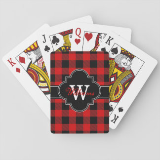 Red Black Buffalo Check Plaid Tartan 1IQN Poker Deck
