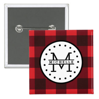 Red black Buffalo Plaid Lumberjack Name Monogram 15 Cm Square Badge