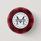 Red black Buffalo Plaid Lumberjack Name Monogram 3 Cm Round Badge
