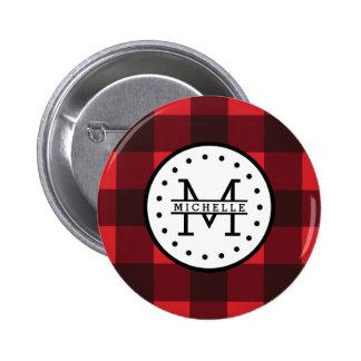 Red black Buffalo Plaid Lumberjack Name Monogram 6 Cm Round Badge