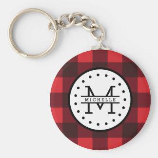 Red black Buffalo Plaid Lumberjack Name Monogram Basic Round Button Key Ring