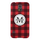 Red black Buffalo Plaid Lumberjack Name Monogram Case For Galaxy S5