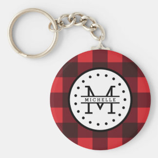 Red black Buffalo Plaid Lumberjack Name Monogram Key Ring