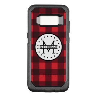 Red black Buffalo Plaid Lumberjack Name Monogram OtterBox Commuter Samsung Galaxy S8 Case