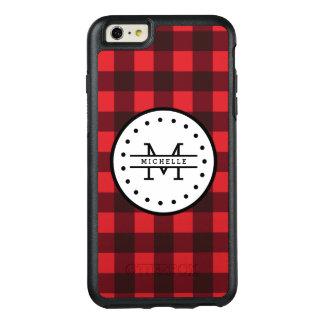 Red black Buffalo Plaid Lumberjack Name Monogram OtterBox iPhone 6/6s Plus Case