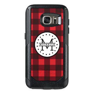 Red black Buffalo Plaid Lumberjack Name Monogram OtterBox Samsung Galaxy S7 Case