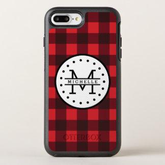 Red black Buffalo Plaid Lumberjack Name Monogram OtterBox Symmetry iPhone 8 Plus/7 Plus Case