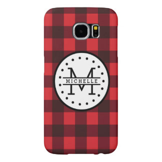 Red black Buffalo Plaid Lumberjack Name Monogram Samsung Galaxy S6 Cases
