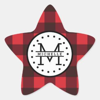 Red black Buffalo Plaid Lumberjack Name Monogram Star Sticker