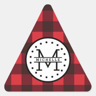 Red black Buffalo Plaid Lumberjack Name Monogram Triangle Sticker