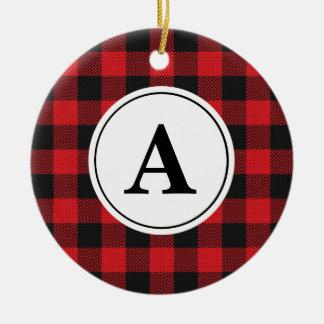 Red Black Buffalo Plaid Monogrammed Christmas Ornament