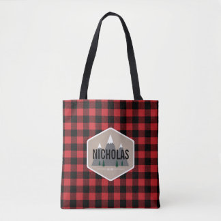 Red & Black Buffalo Plaid Pattern Tote Bag