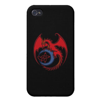 Red Black Celtic Dragon And Blue Moon Drawing iPhone 4/4S Cases
