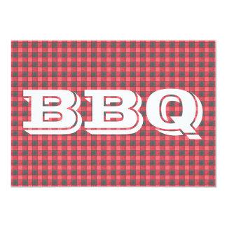 Red Black Check Plaid BBQ Invitation