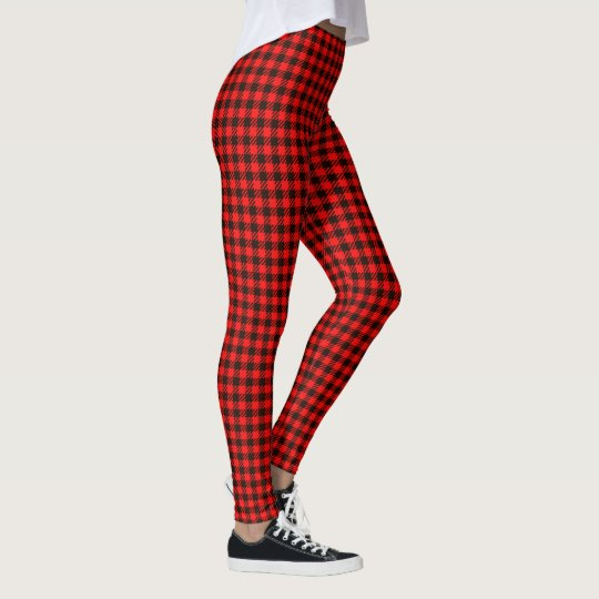 Red Black Checked Custom Leggings