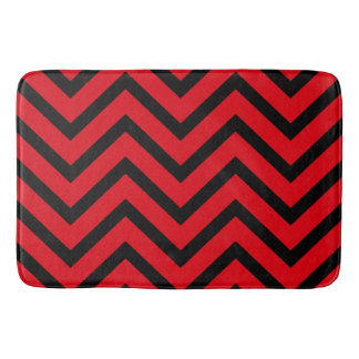 Red Black chevron Pattern modern bath mat