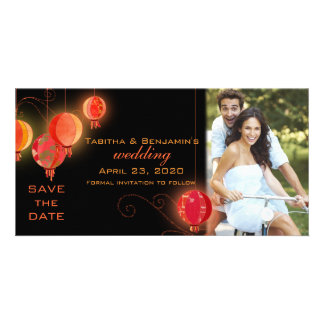 Red & Black Chinese Lanterns Wedding Save the Date Photo Card