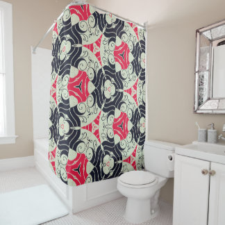 Red & Black Circle Retro Pattern Shower Curtain