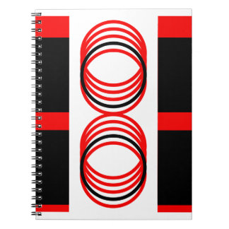Red Black Circles Squares 4Alex Spiral Notebook