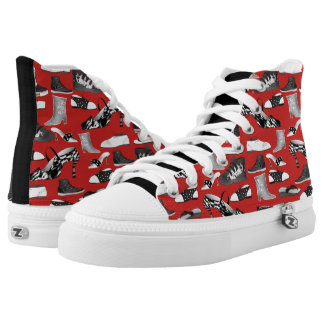 Red Black Cool Monochromatic Cartoon Shoes Pattern
