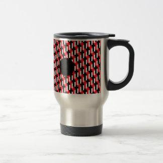 Red & Black Cross Pattern with customizable area Travel Mug
