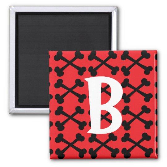 Red & Black Crossbones Magnet