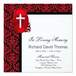 Red Black Damask Cross In Loving Memory Memorial Card