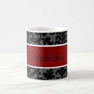 Red Black Damask Custom Name Coffee Mug
