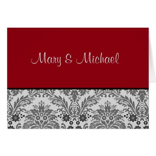 Red & black damask design card