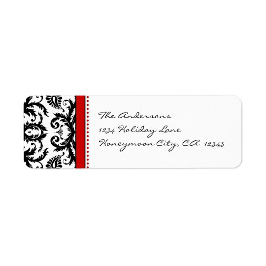 Red & Black Damask Dots Address Labels
