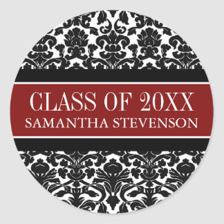 Red Black Damask Graduation Custom Year Name Round Sticker
